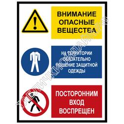 Внимание. Опасные вещества. На территории обязательно ношение спецодежды. Посторонним вход воспрещен
