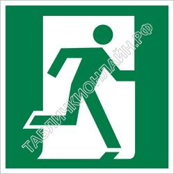 Изображение эвакуационного знака E 01-02   Выход здесь (правосторонний) ГОСТ Р 12.4.026-2015