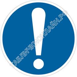 Изображение предписывающего знака M 11 Общий предписывающий знак (прочие предписания) ГОСТ Р 12.4.026-2015