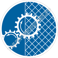 Изображение предписывающего знака M 25 Ограждать движущиеся части механизмов ГОСТ Р 12.4.026-2015