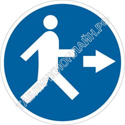 Изображение предписывающего знака M 43 Проход справа ГОСТ Р 12.4.026-2015